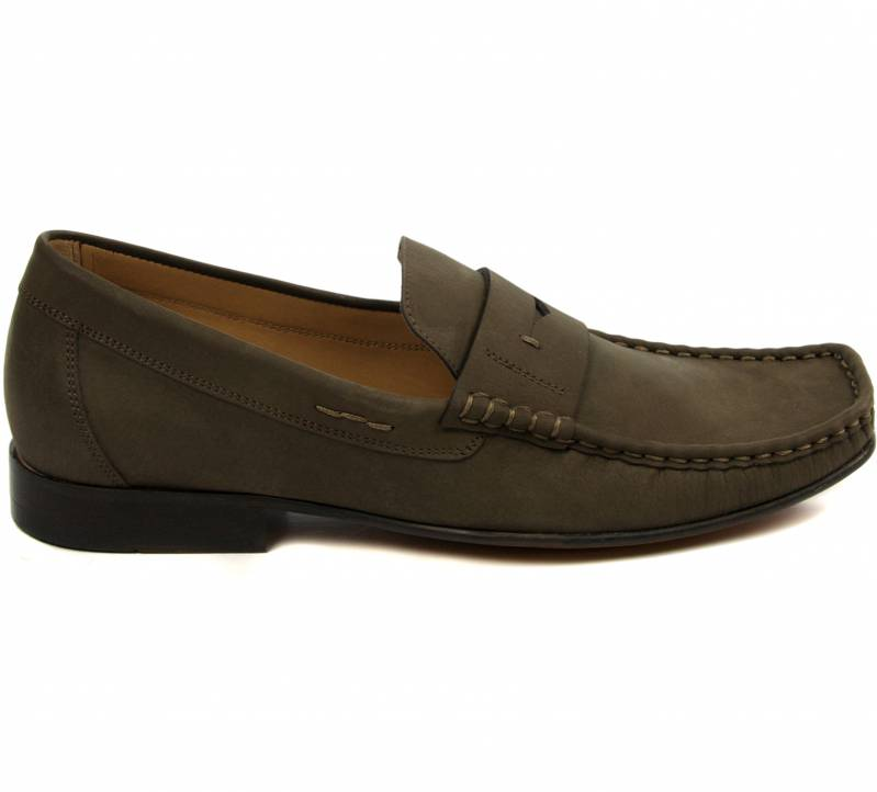 Square Toe Nubuc Loafers