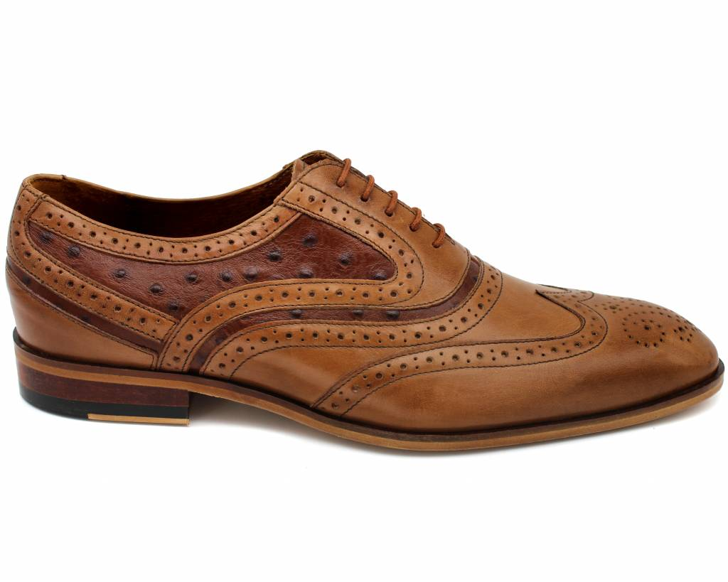 Ostrich Mix Brogue Shoes